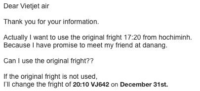 Vietjet Airへの断りの連絡をしました。