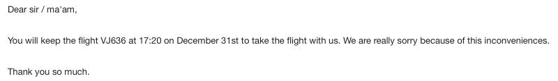 Vietjet Airから再度返信が来ました。
