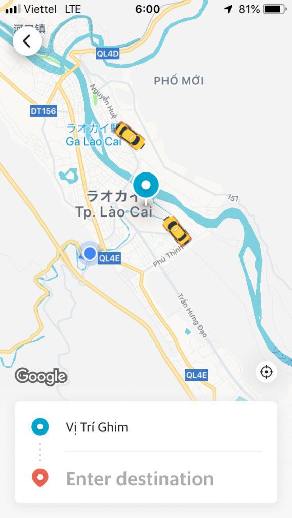 配車アプリGRUBでタクシーを探したところ、2台程見つかりました。