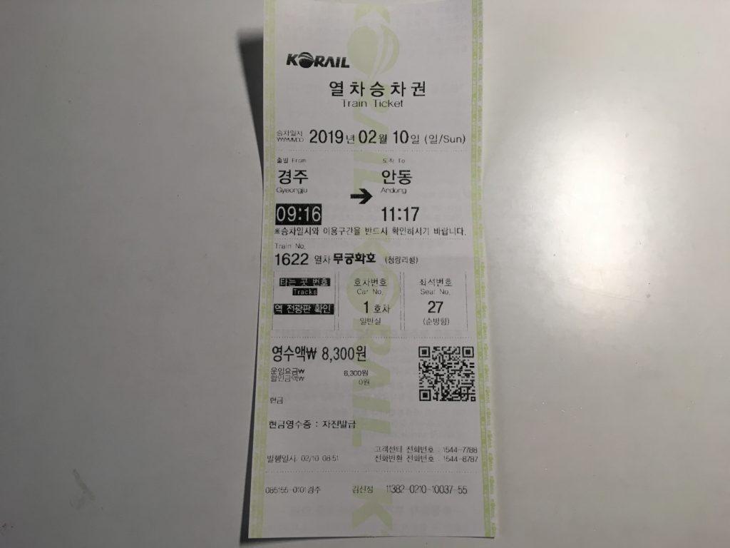 列車のチケット