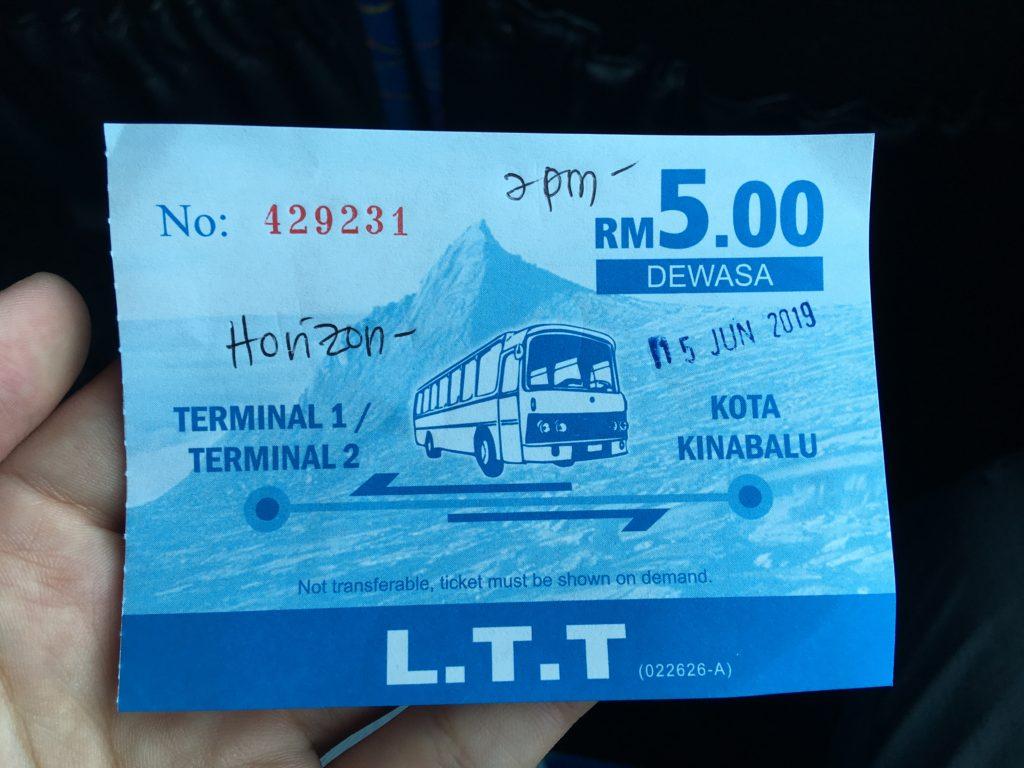 バスのチケットです。