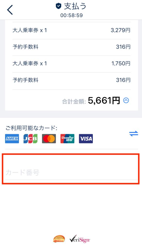 クレジットカード情報を入力、支払いを完了させます