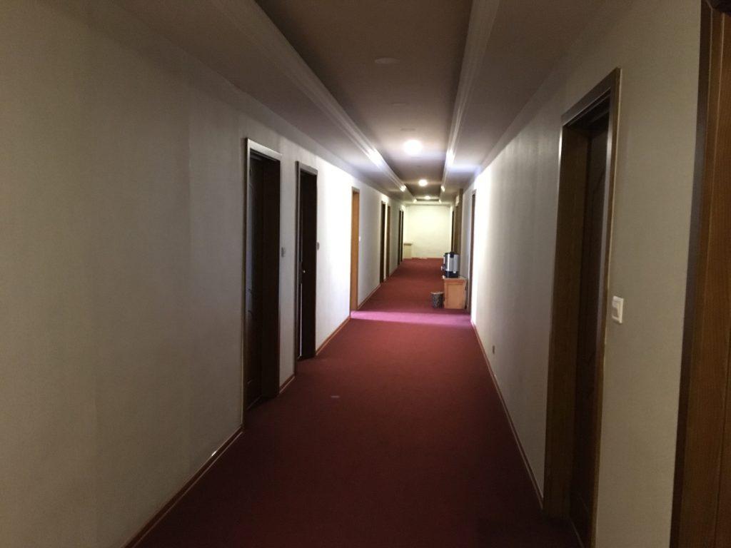 共用廊下です。ホテルらしい感じがします。