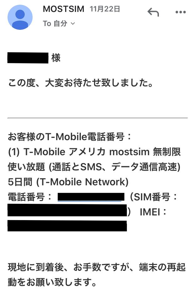 指定した開通日(太平洋時間)になるとメールで電話番号と注意事項が記載されたメールが届きました