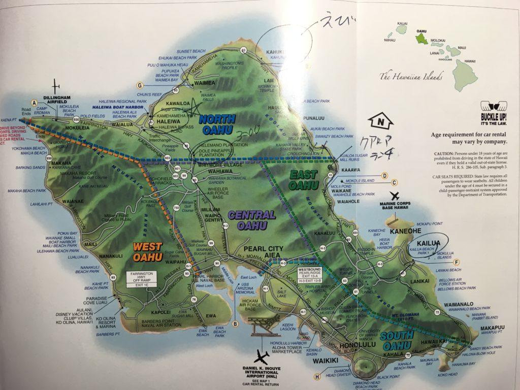 スタッフの方からオアフ島一周のルートについて教えていただきました。