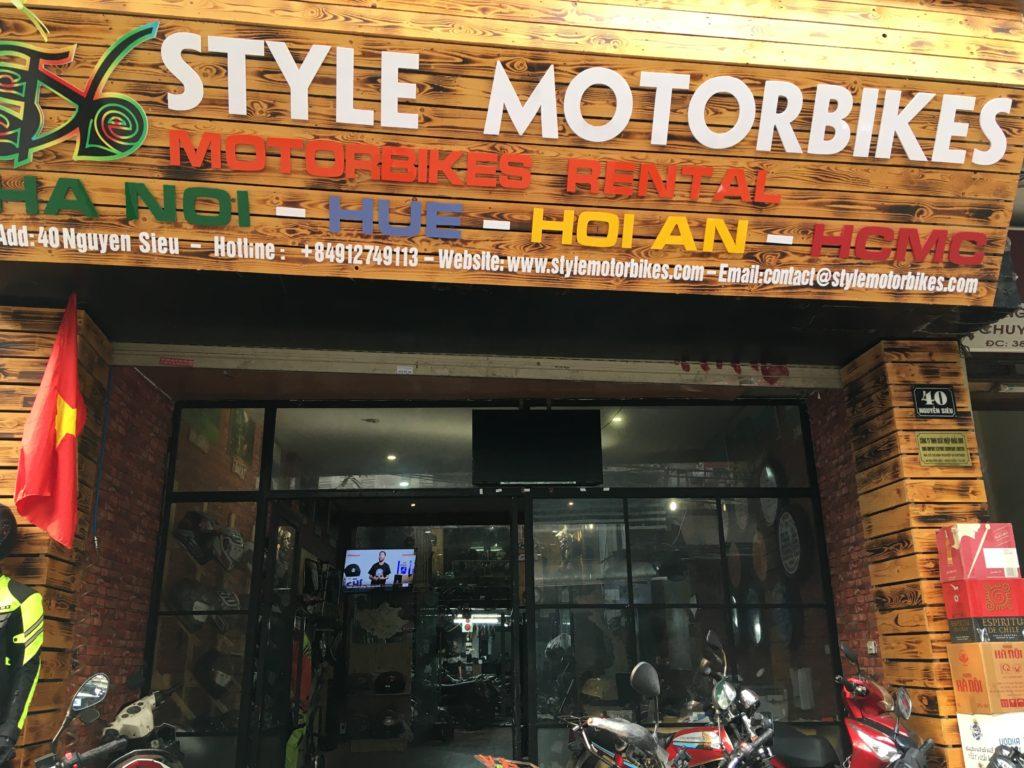 ハノイ市街地にあるSTYLE MOTORBIKES