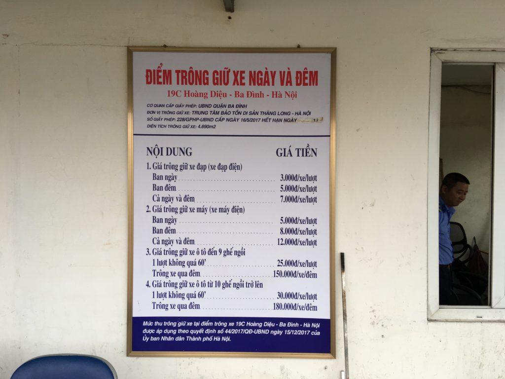 タンロン遺跡の駐車場の料金表